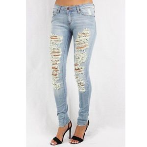 GJG Denim Jeans - Shredded Skinny Jeans